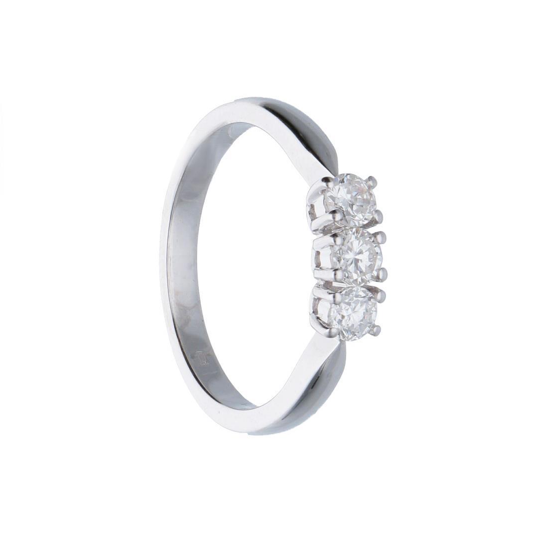 Anello trilogy in oro bianco con diamanti mis 15 - ALFIERI ST JOHN