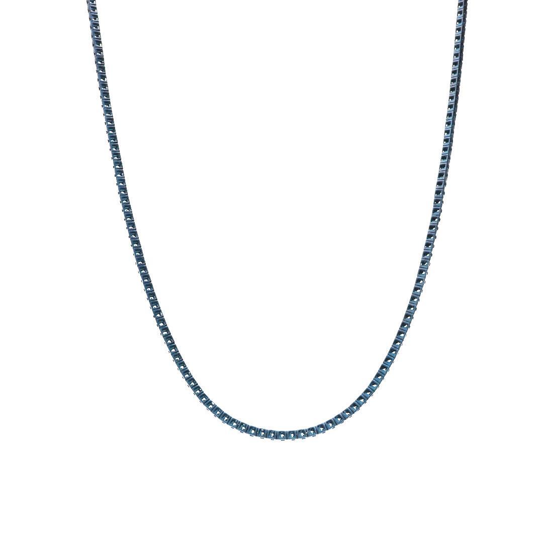 Collana tennis in oro con diamanti naturali blu trattati - ALFIERI & ST. JOHN