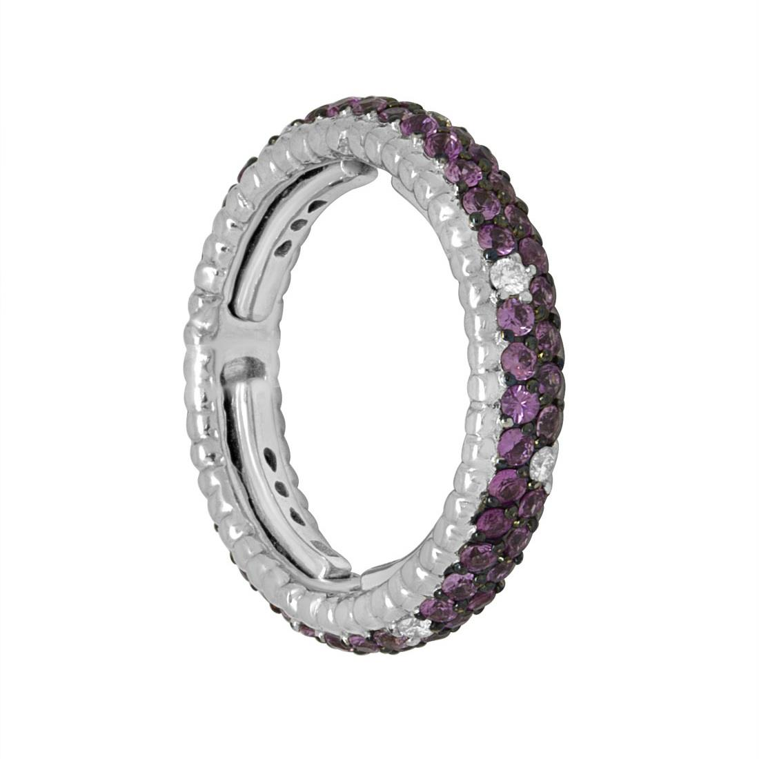 Anello eternity in oro bianco con diamanti e zaffiri viola - ALFIERI ST JOHN