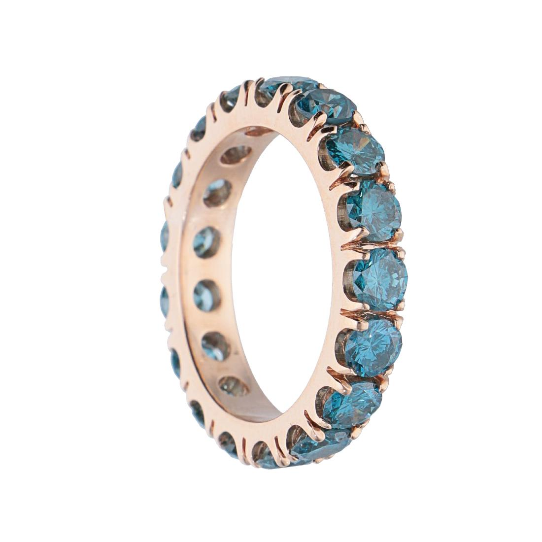 Anello in oro rosa con diamanti naturali blu trattati - ALFIERI ST JOHN