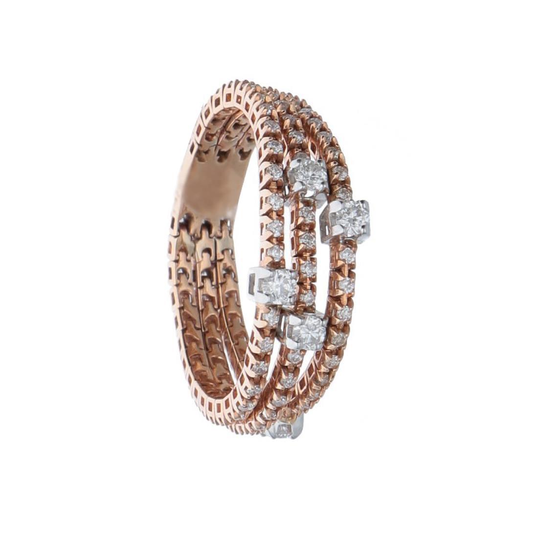 Anello semirigido in oro rosa e diamanti ct 0,65 - ALFIERI ST JOHN