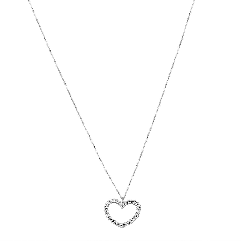 Collana in oro bianco con pendente e diamanti ct 0.40 - ALFIERI & ST. JOHN