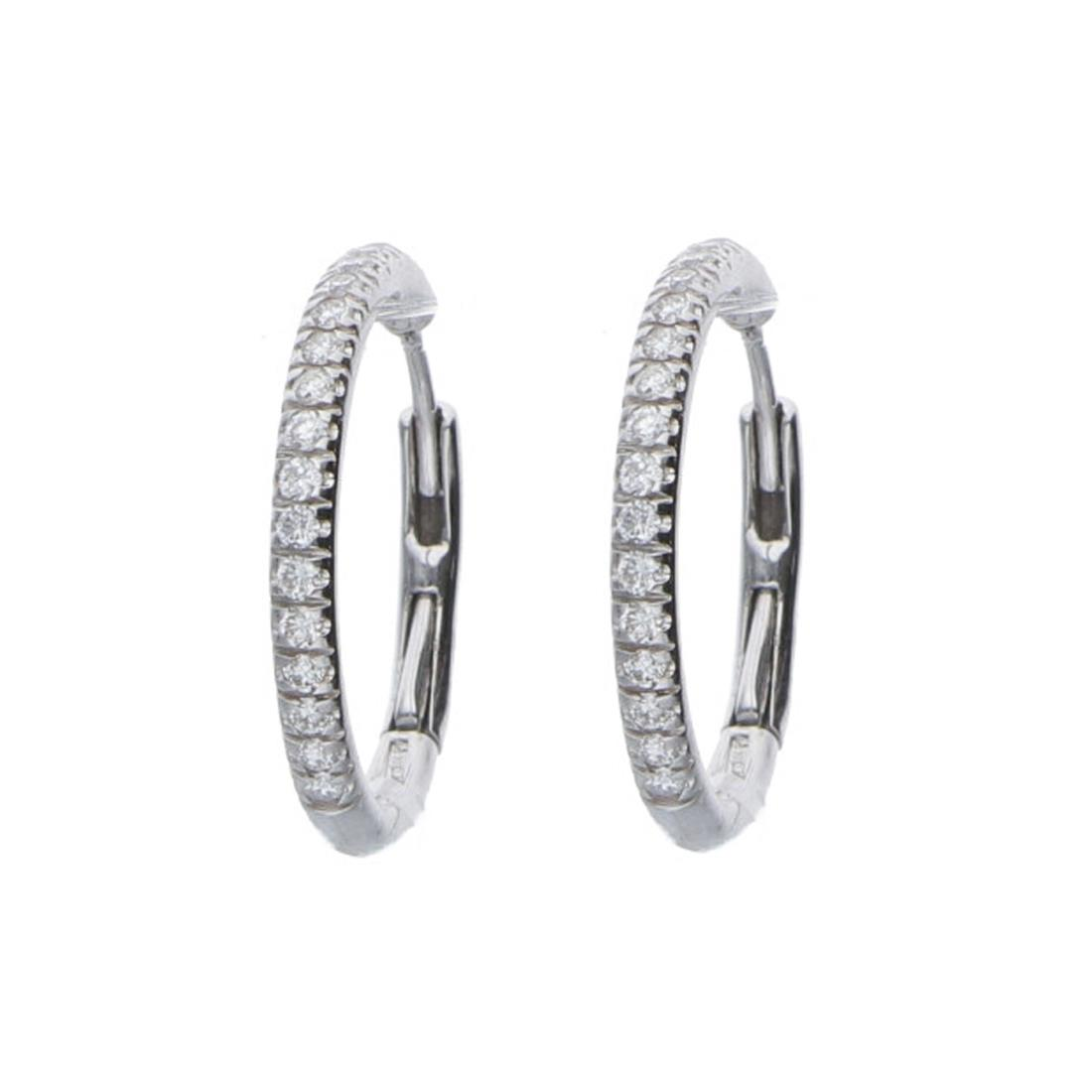 Orecchini a cerchio in oro bianco con diamanti - ALFIERI ST JOHN