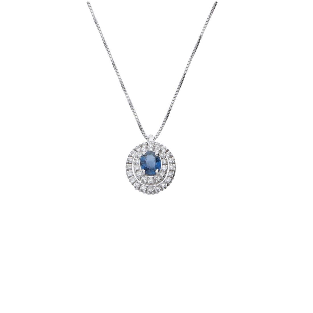 Collana in oro bianco con diamanti ct 0.27 e zaffiri ct 0.47 - ALFIERI ST JOHN