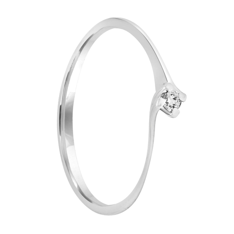 Anello in oro bianco con diamanti ct 0.04 mis 15 - ALFIERI & ST. JOHN