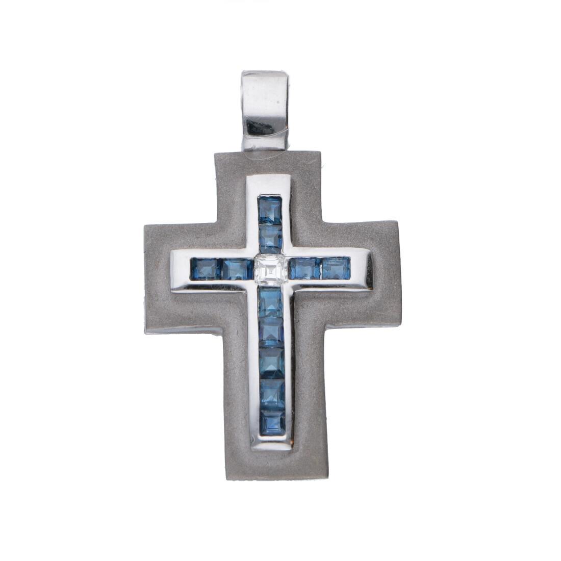 Ciondolo croce in oro con diamanti e zaffiri - ALFIERI ST JOHN