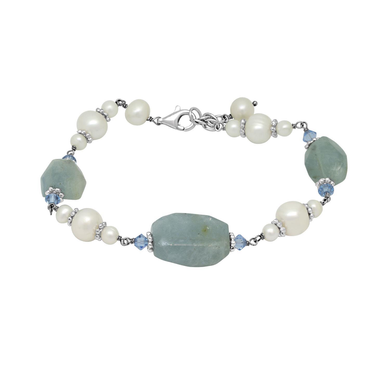 Bracciale in argento con perle e pietre colorate - RIVIK