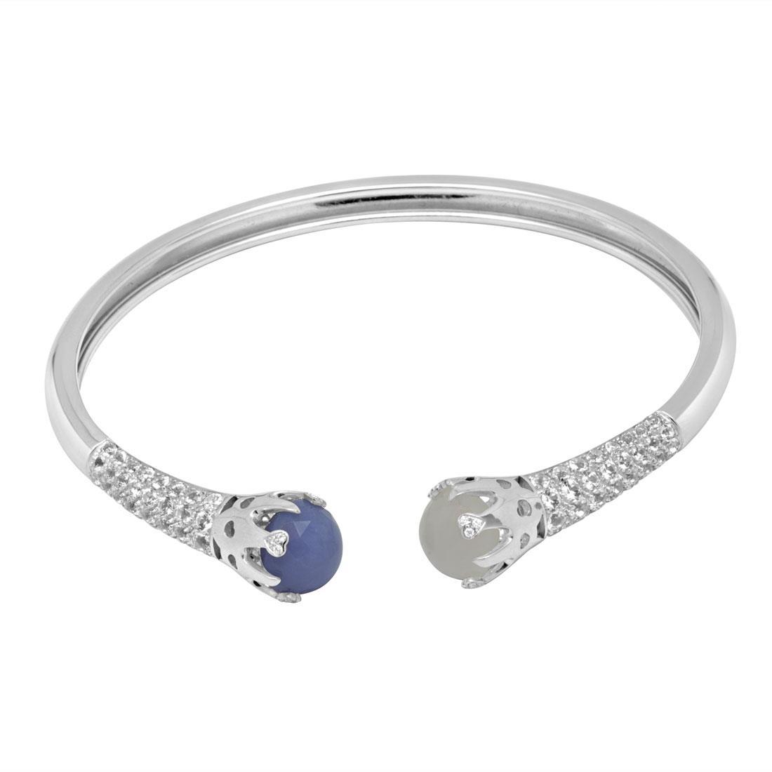 Bracciale rigido con diamanti ct 0.08 e pietre preziose - PASQUALE BRUNI