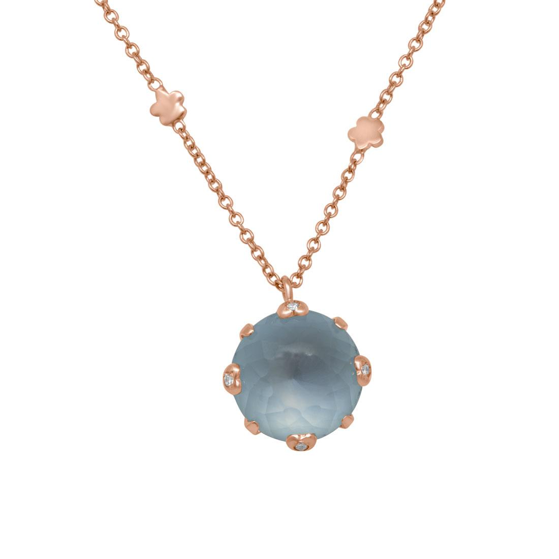 Collana in oro rosso con diamanti e pietra semipreziosa - PASQUALE BRUNI
