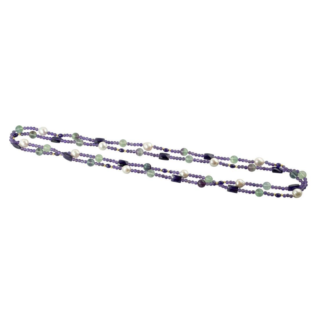 Collana con perle e pietre semipreziose - RIVIK
