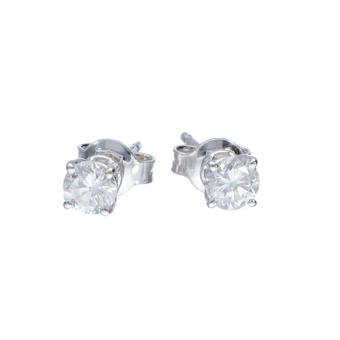 Orecchini punto luce in oro bianco con diamanti 0.72 ct - ALFIERI ST JOHN