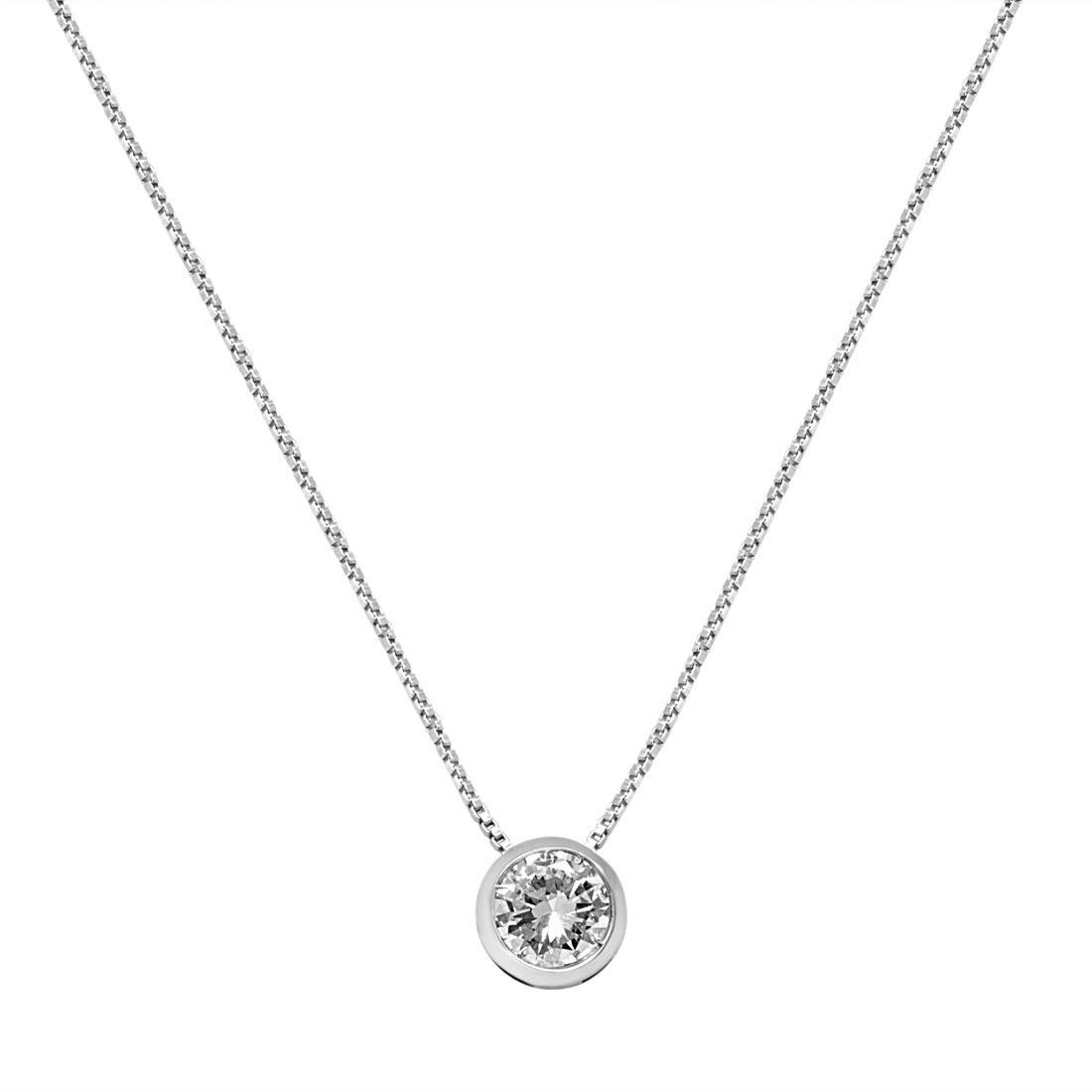 Collana punto luce cipollina in oro bianco con diamante 0.25 ct - ALFIERI & ST. JOHN