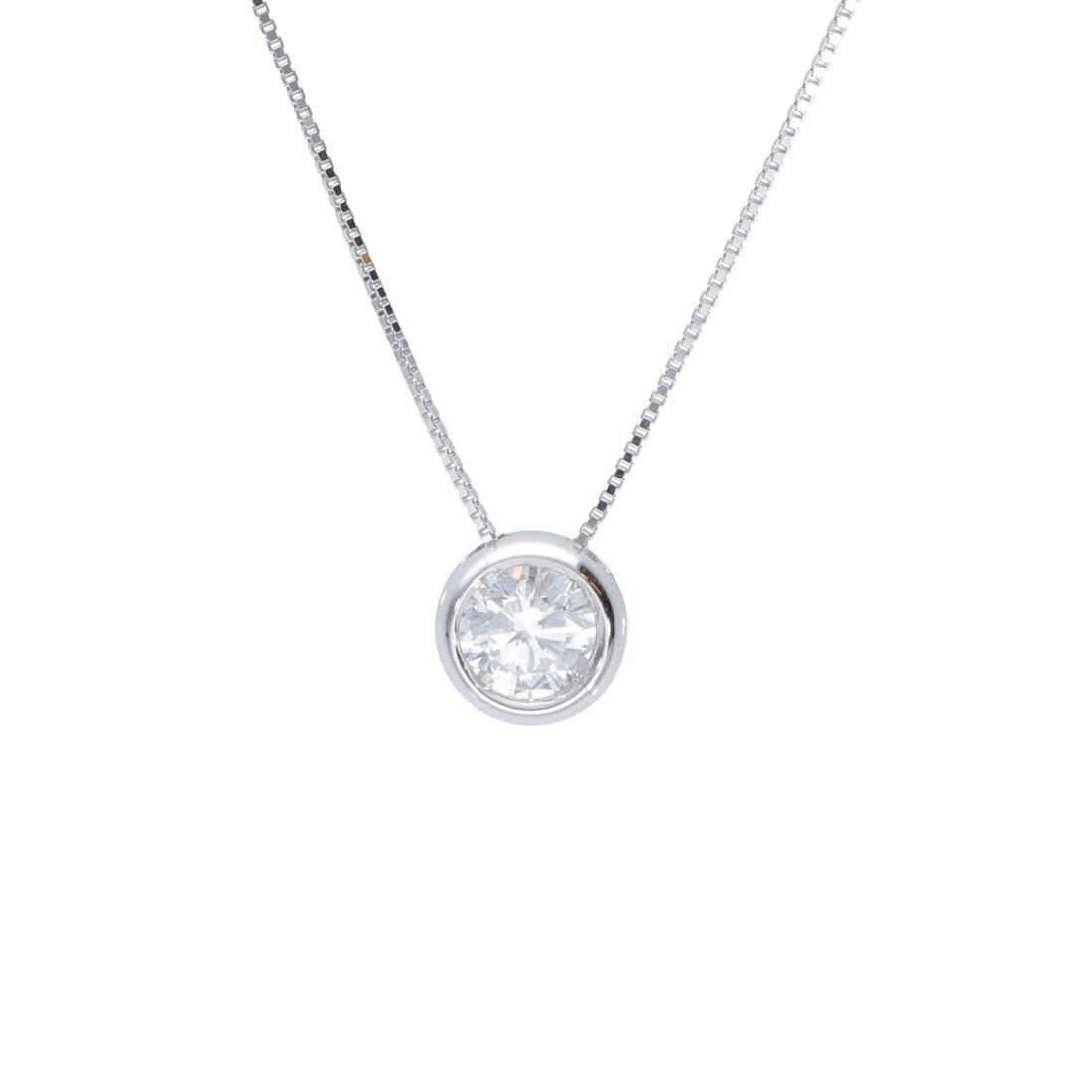 Collana punto luce cipollina in oro bianco con diamante 0.30 ct - ALFIERI & ST. JOHN