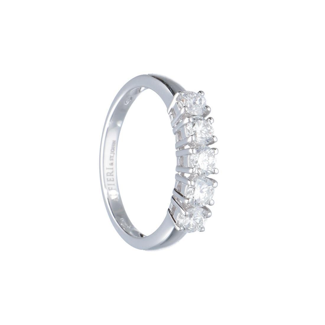 Anello riviere 5 pietre in oro bianco con diamanti 0.93 ct mis 15.5 - ALFIERI ST JOHN