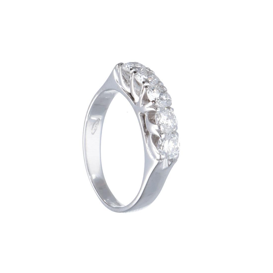 Anello riviere 5 pietre in oro bianco con diamanti mis 11.5 - ALFIERI ST JOHN