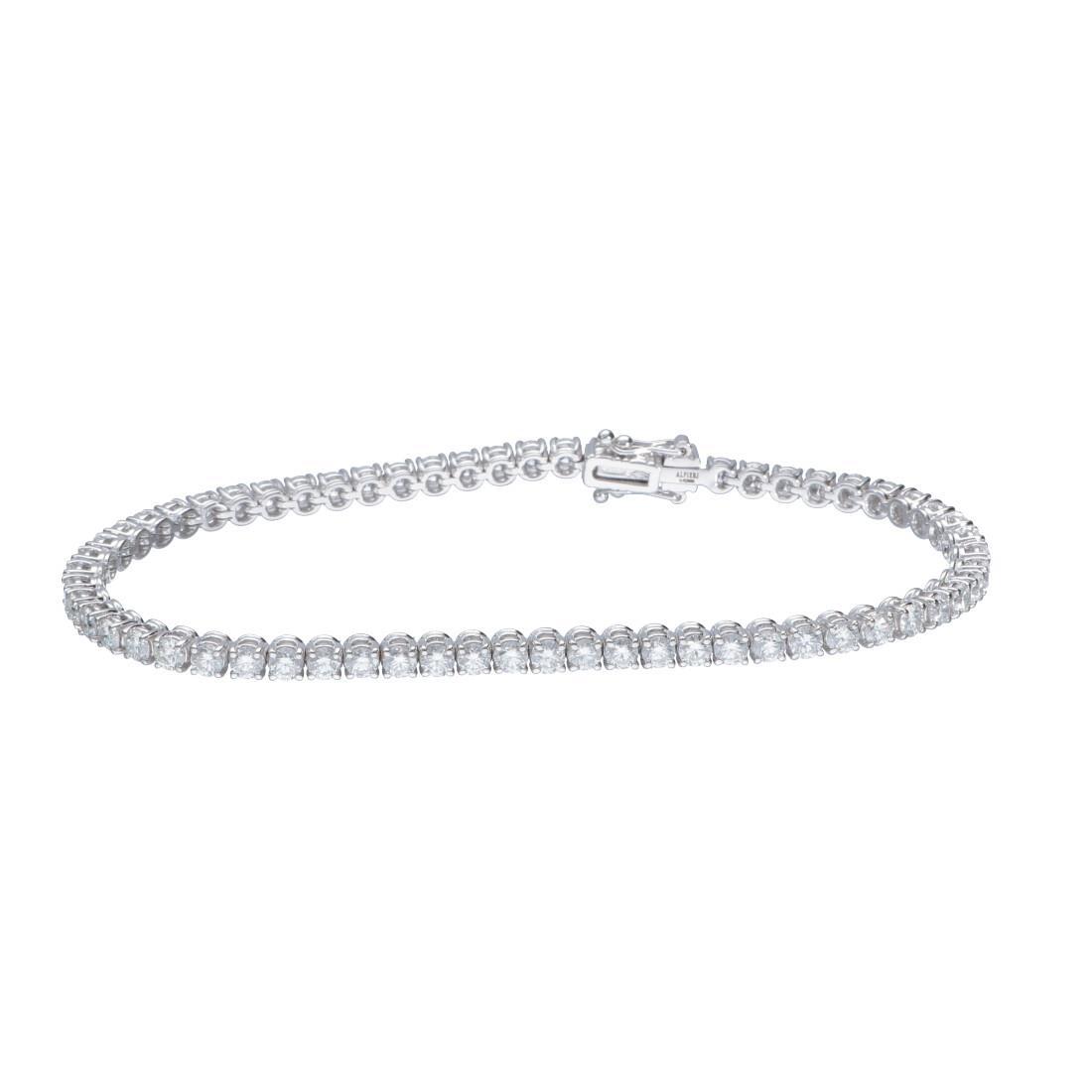 Bracciale tennis in oro bianco con diamanti 5.01 ct - ALFIERI & ST. JOHN