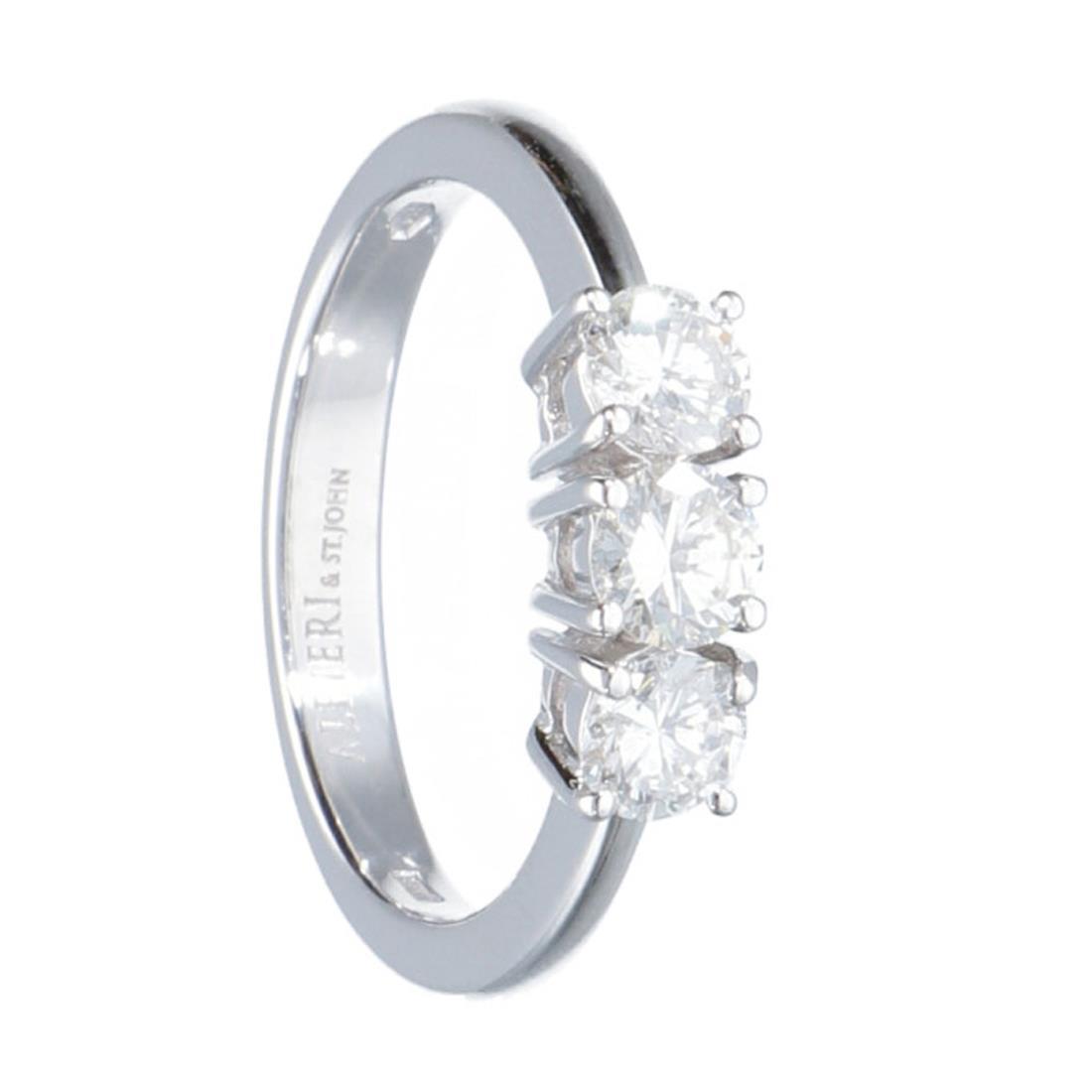 Anello trilogy in oro bianco con diamanti 0.90 ct - ALFIERI ST JOHN