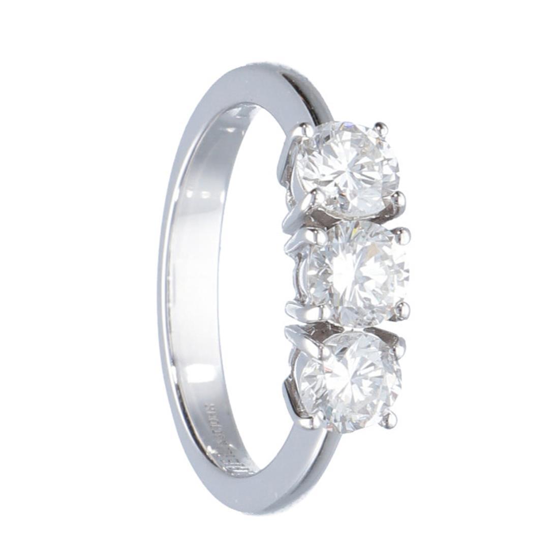 Anello trilogy in oro bianco con diamanti 1.20 ct - ALFIERI ST JOHN