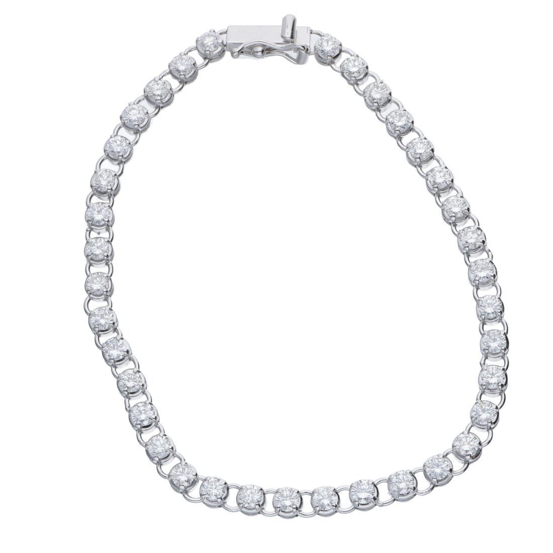 Bracciale tennis in oro bianco con diamanti 3.53 ct - ALFIERI & ST. JOHN