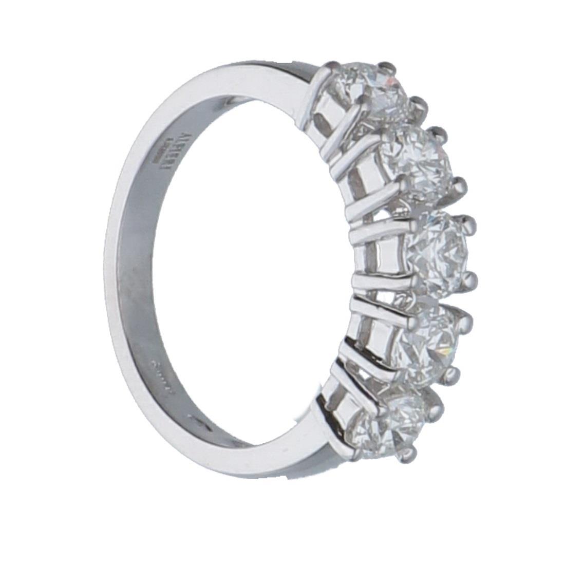 Anello riviére 5 pietre in oro bianco con diamanti mis 13 - ALFIERI & ST. JOHN