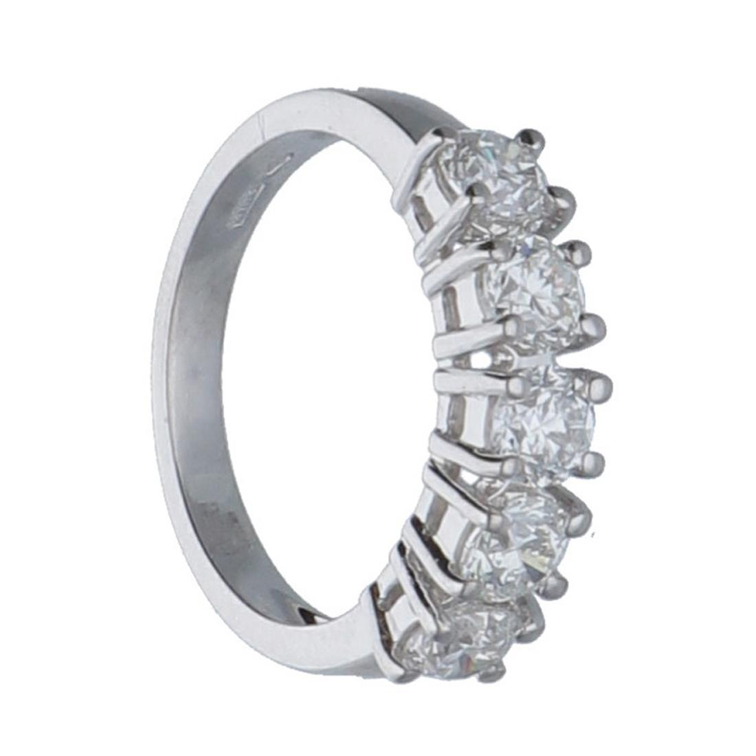 Anello riviére 5 pietre in oro bianco con diamanti mis 13 - ALFIERI & ST.JOHN