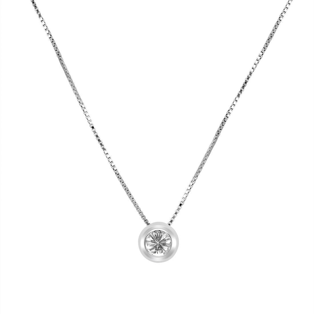 Collana punto luce in oro bianco con diamante - ALFIERI & ST.JOHN