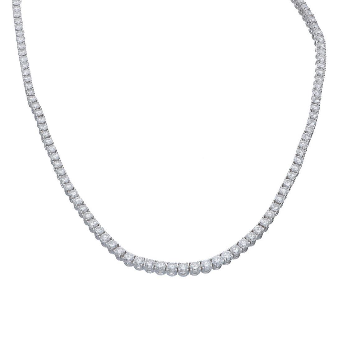 Collana tennis in oro bianco con diamanti 13.56 ct - ALFIERI & ST.JOHN