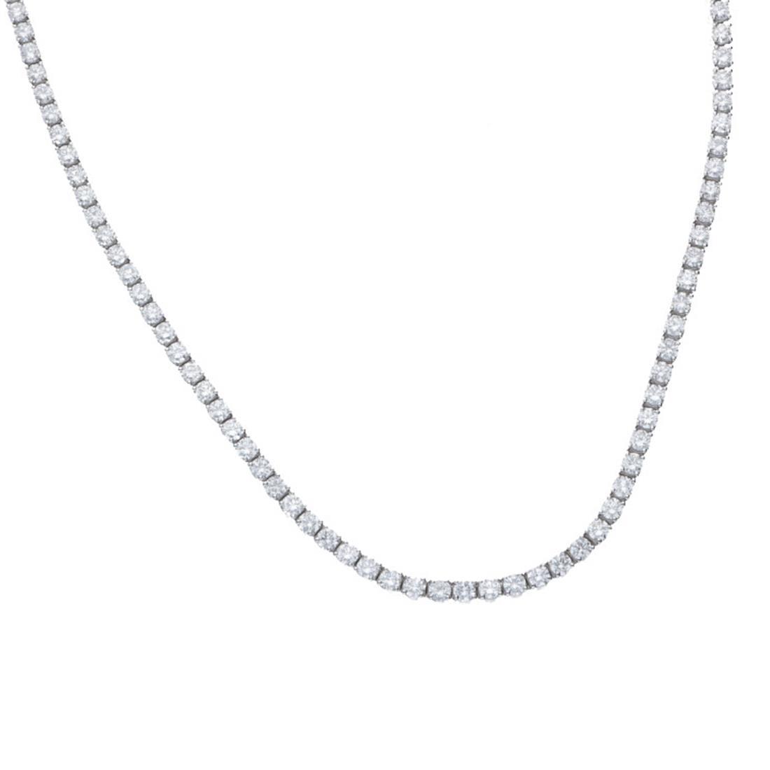 Collana tennis in oro bianco con diamanti 11.39 ct - ALFIERI & ST.JOHN