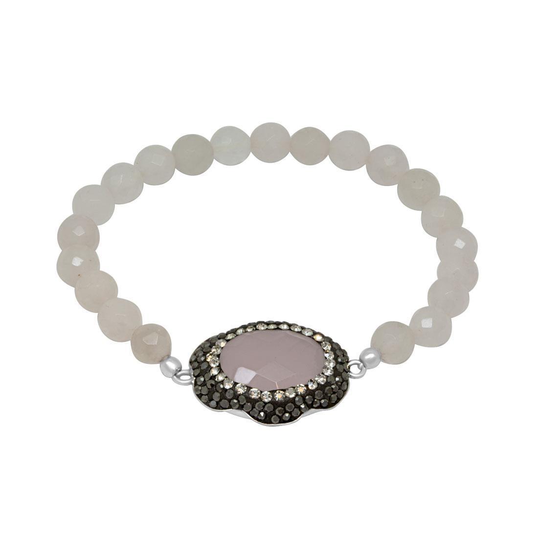 Bracciale in argento con elastico e quarzi rosa - ORO&CO 925