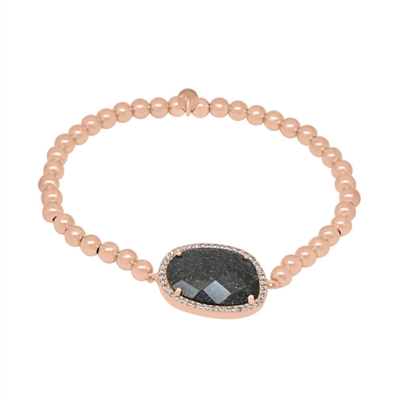 Bracciale in argento con elastico in argemto rosato, quarzi neri e zirconi - ORO&CO 925