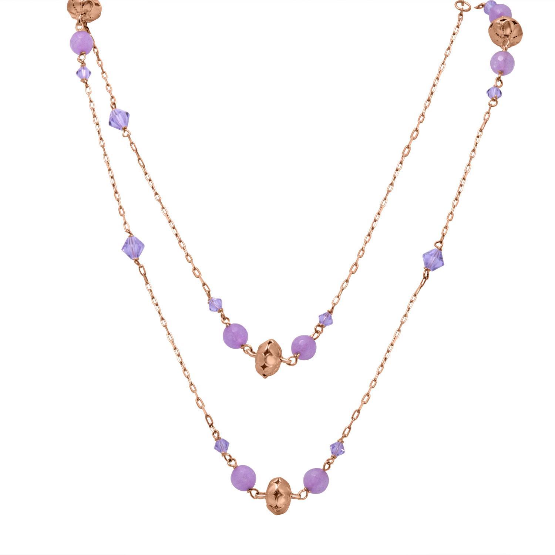 Collana in argento rosato e quarzi viola - ORO&CO 925