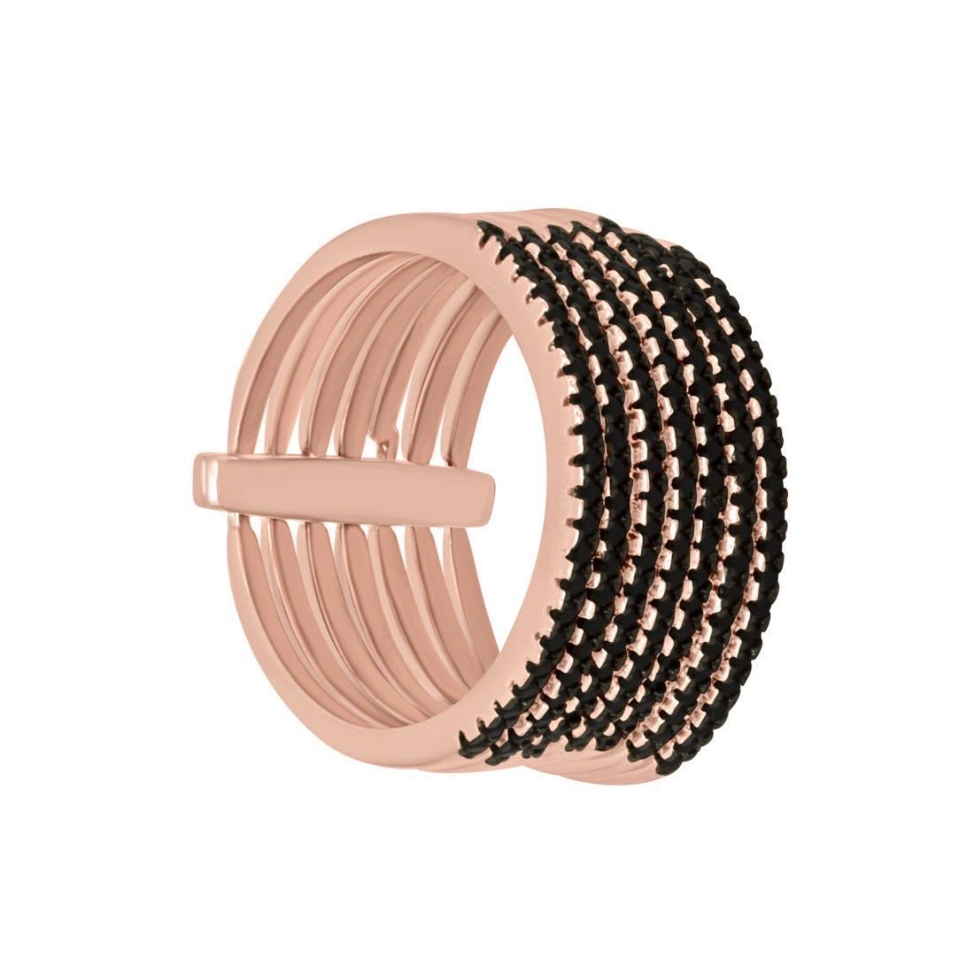 Anello in argento rosa e zirconi neri - ORO&CO 925