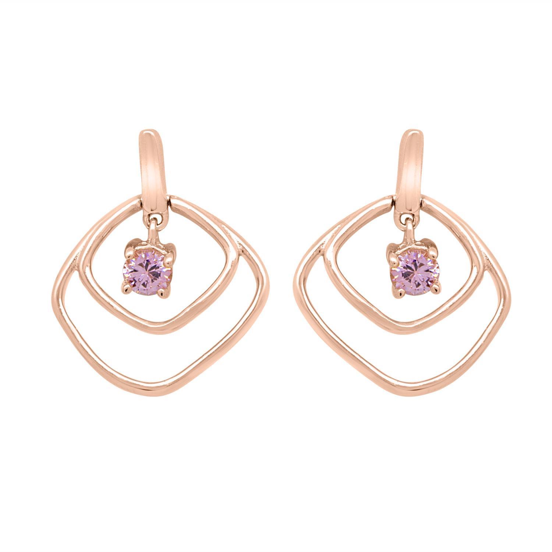 Orecchini design in argento rosè con pietre viola - ORO&CO 925