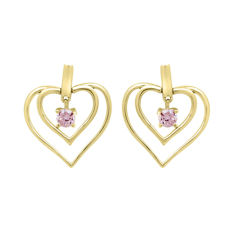 Orecchini design in argento dorato con pietre viola - ORO&CO 925