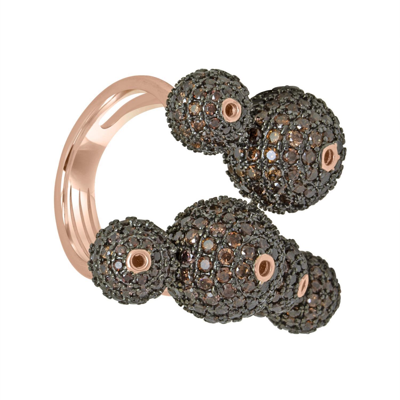 Anello design in argento rosè con pietre nere mis 11 - ORO&CO 925