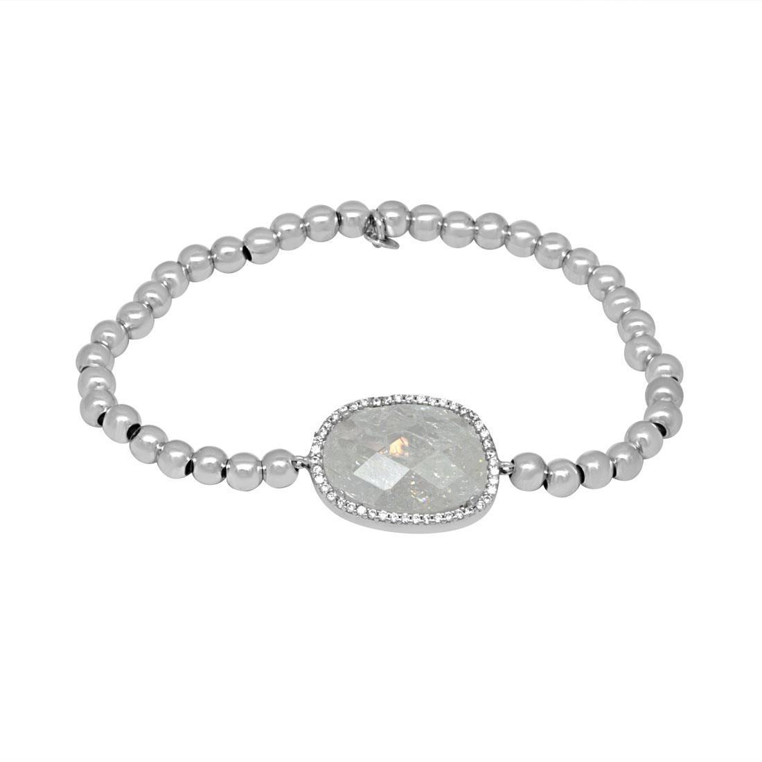 Bracciale elastico in argento e quarzo - ORO&CO 925