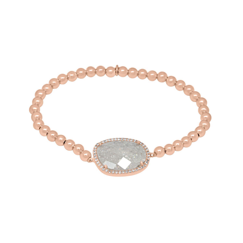 Bracciale elastico in argento rosato e quarzo - ORO&CO 925