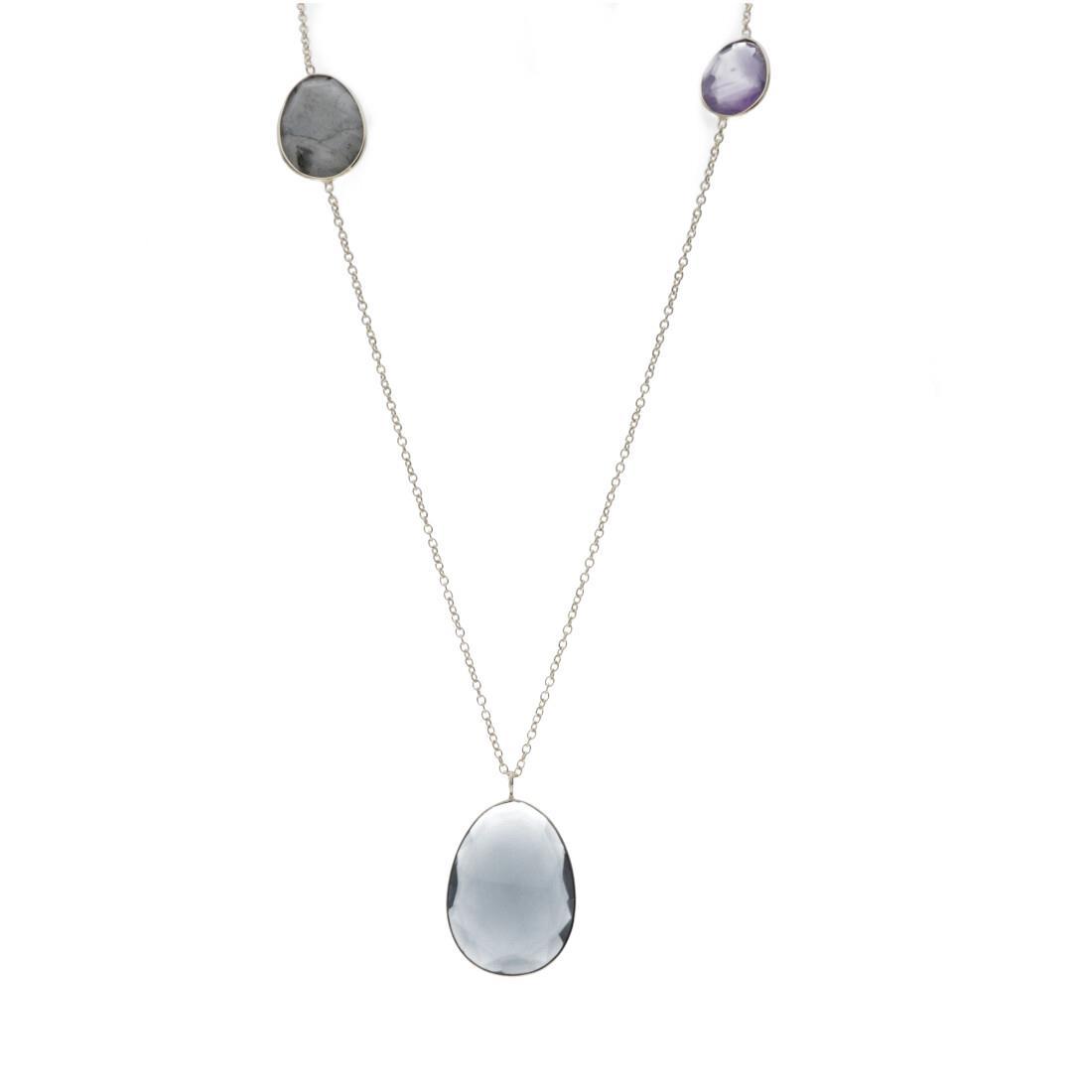 Collana lunga in argento con pietre naturali colorate - ALFIERI & ST. JOHN 925