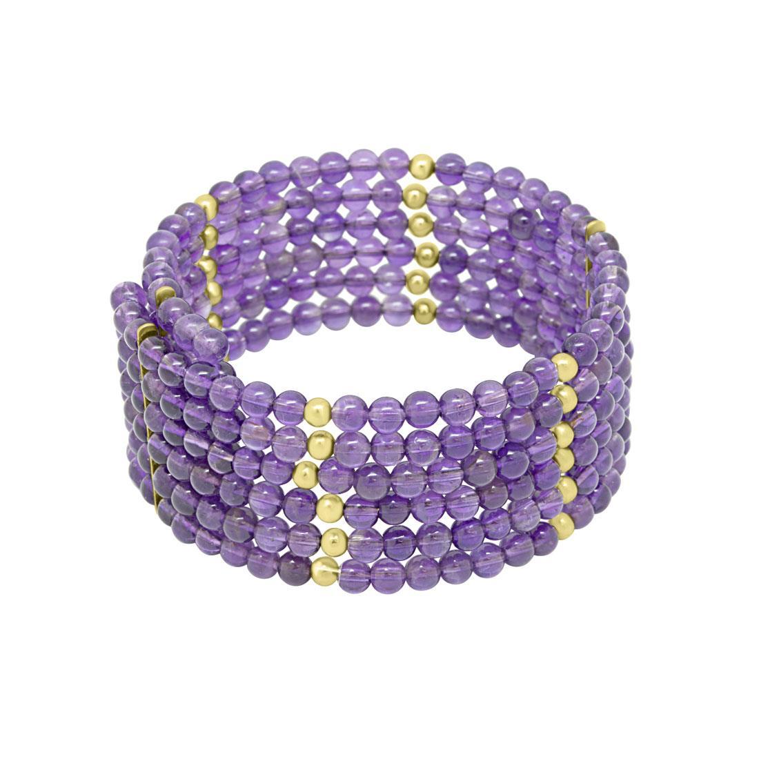 Bracciale rigido con pietre viola e elementi color oro  - RIVIK