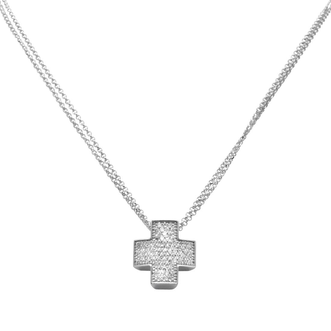 Collana con pendente in oro bianco e diamanti bianchi - ROBERTO DEMEGLIO