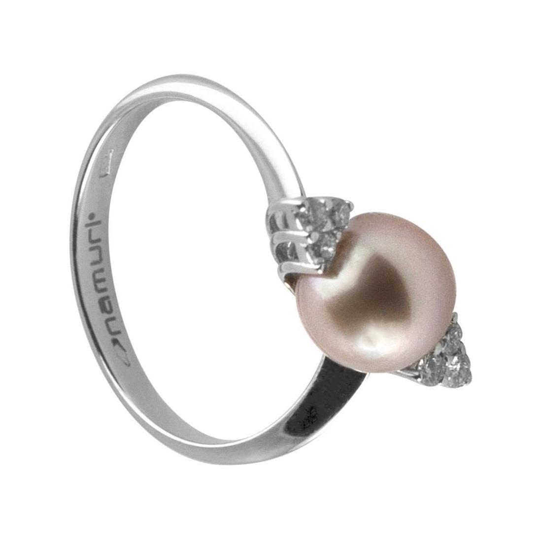 Anello in oro bianco 2.40gr con diamanti ct  0.16 e perla colore round 8-8.5mm, misura 15 - ROBERTO DEMEGLIO