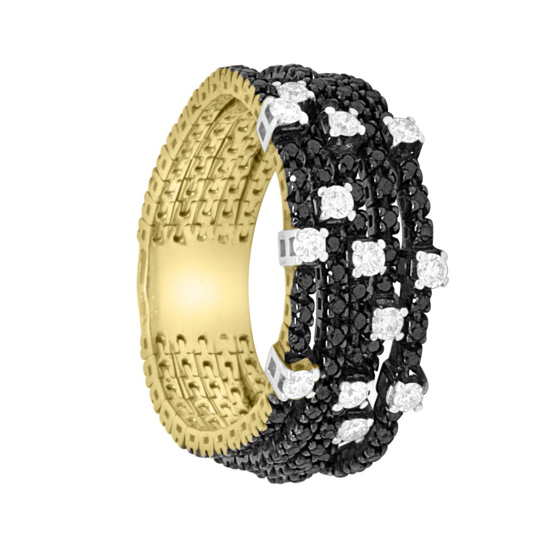 Anello in oro giallo con diamanti neri e bianchi - ROBERTO DEMEGLIO
