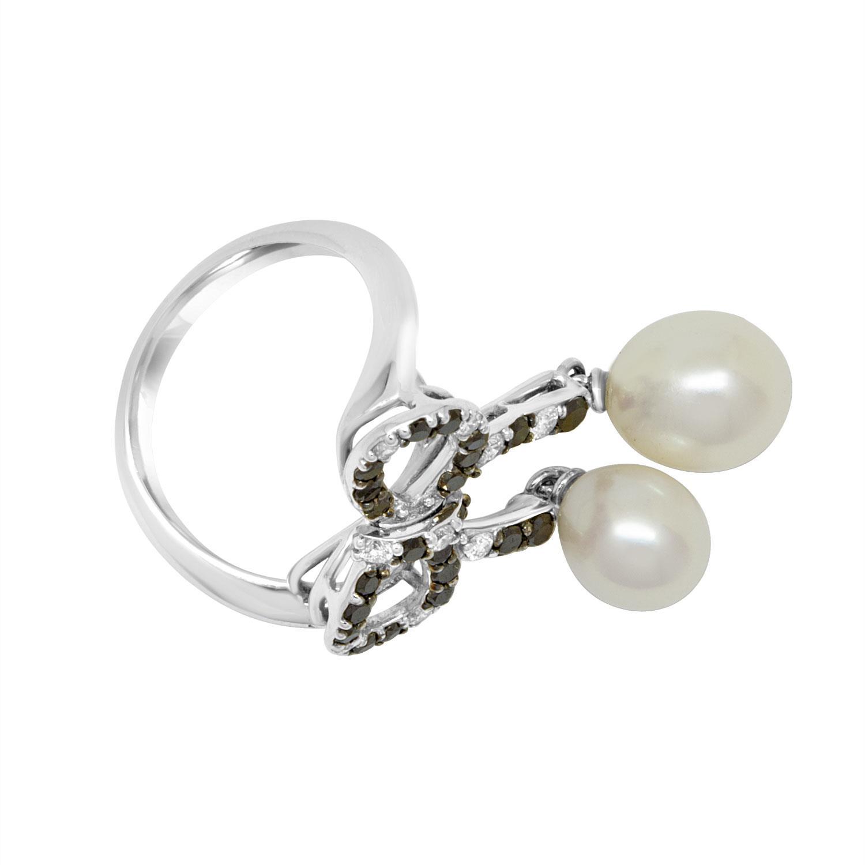 Anello design in oro obianco con diamanti neri - ROBERTO DEMEGLIO