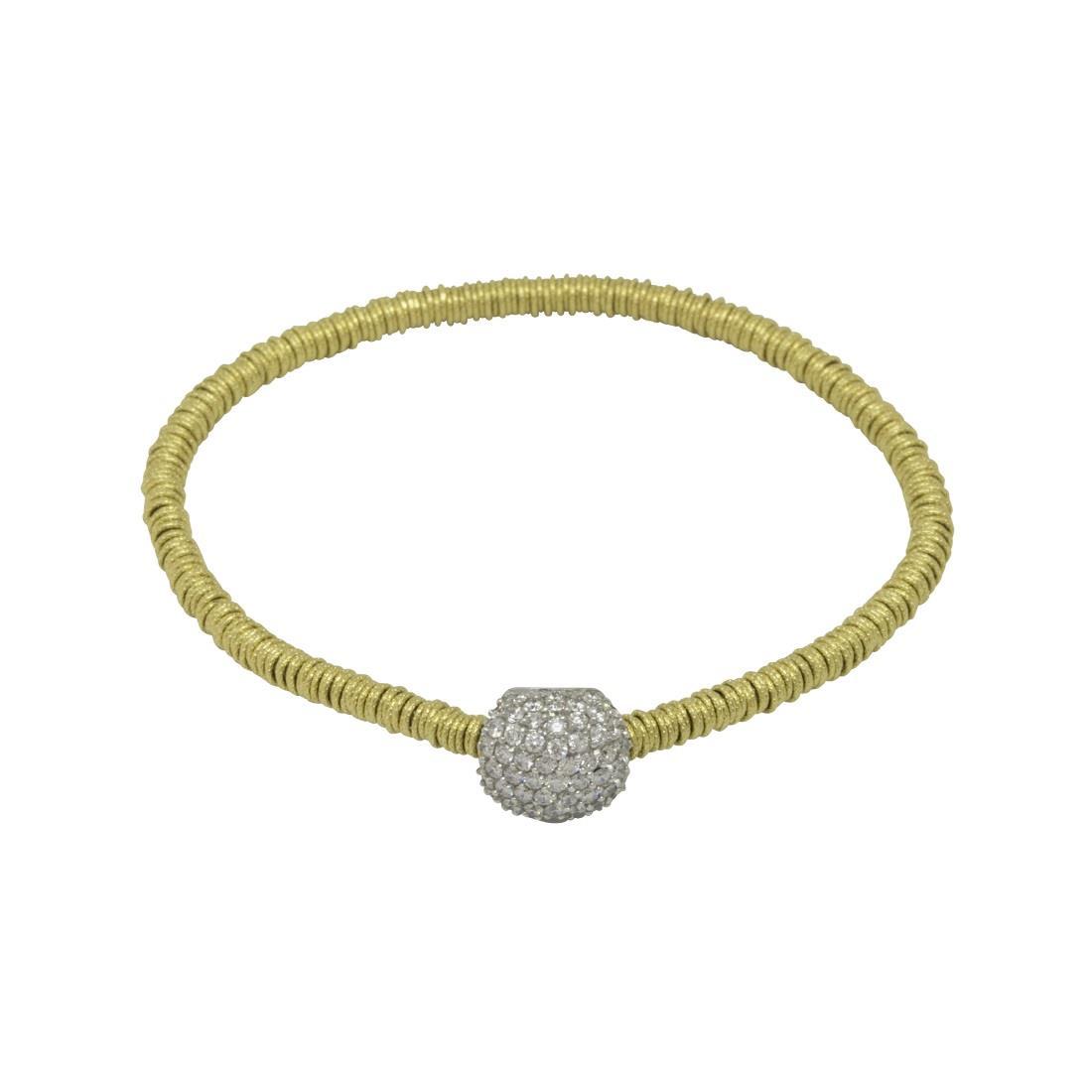 Bracciale in oro giallo con cuscino diamanti bianchi  - ROBERTO DEMEGLIO