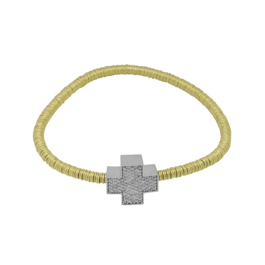 Bracciale in oro giallo con croce in diamanti bianchi  - ROBERTO DEMEGLIO