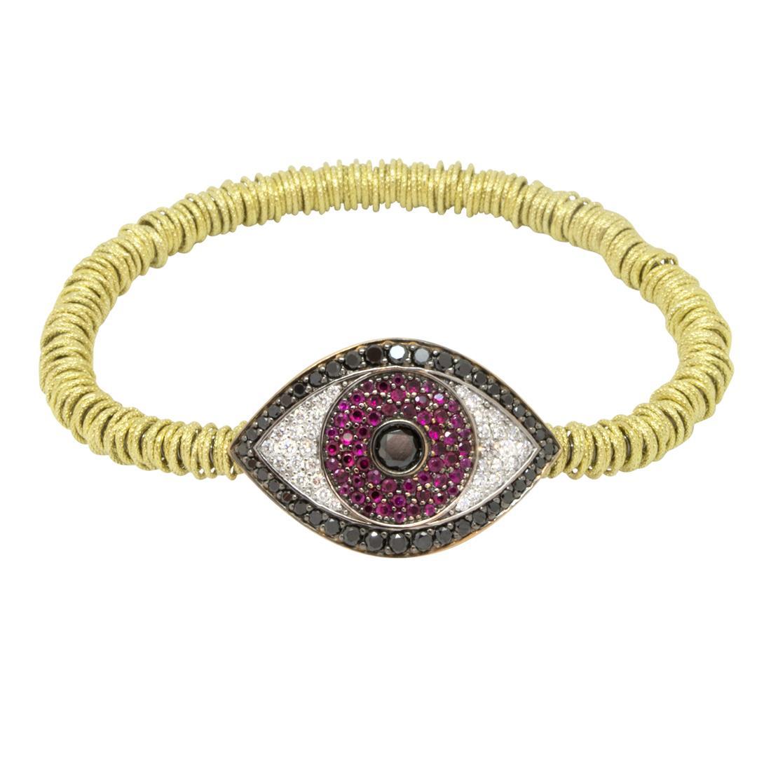 bracciale elastico in oro giallo con rubini, diamanti bianchi e neri - ROBERTO DEMEGLIO