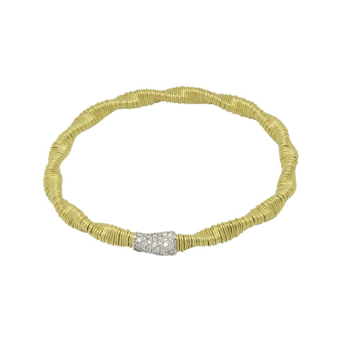 Bracciale in oro giallo e sfera passante 8mm diamanti bianchi - ROBERTO DEMEGLIO