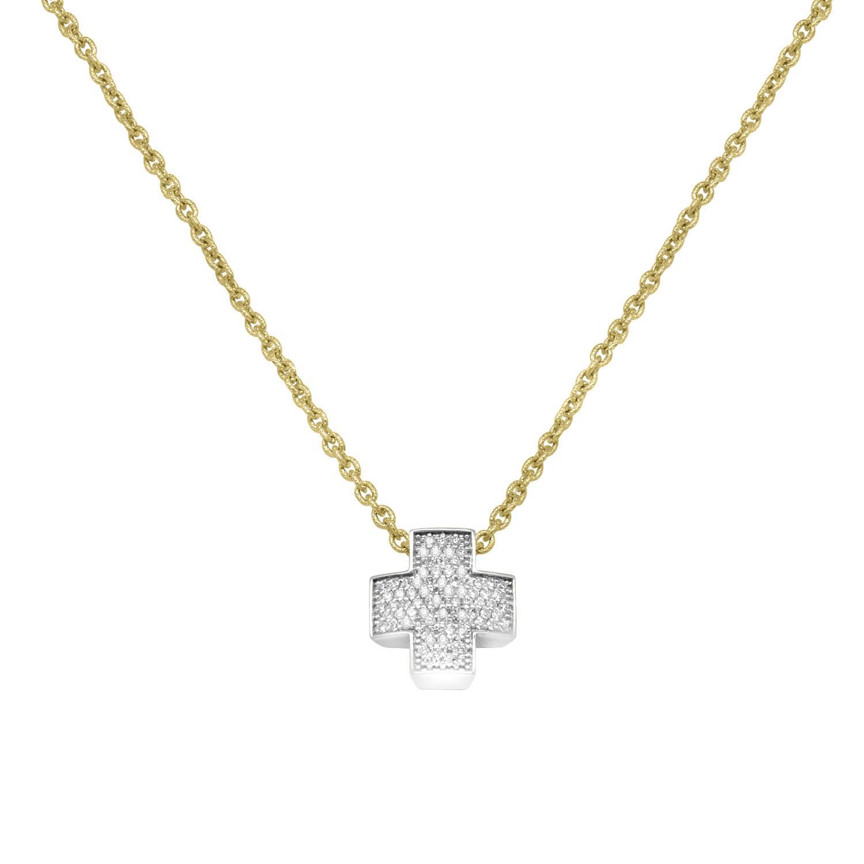 Collana in oro giallo con pendente croce in oro bianco - ROBERTO DEMEGLIO