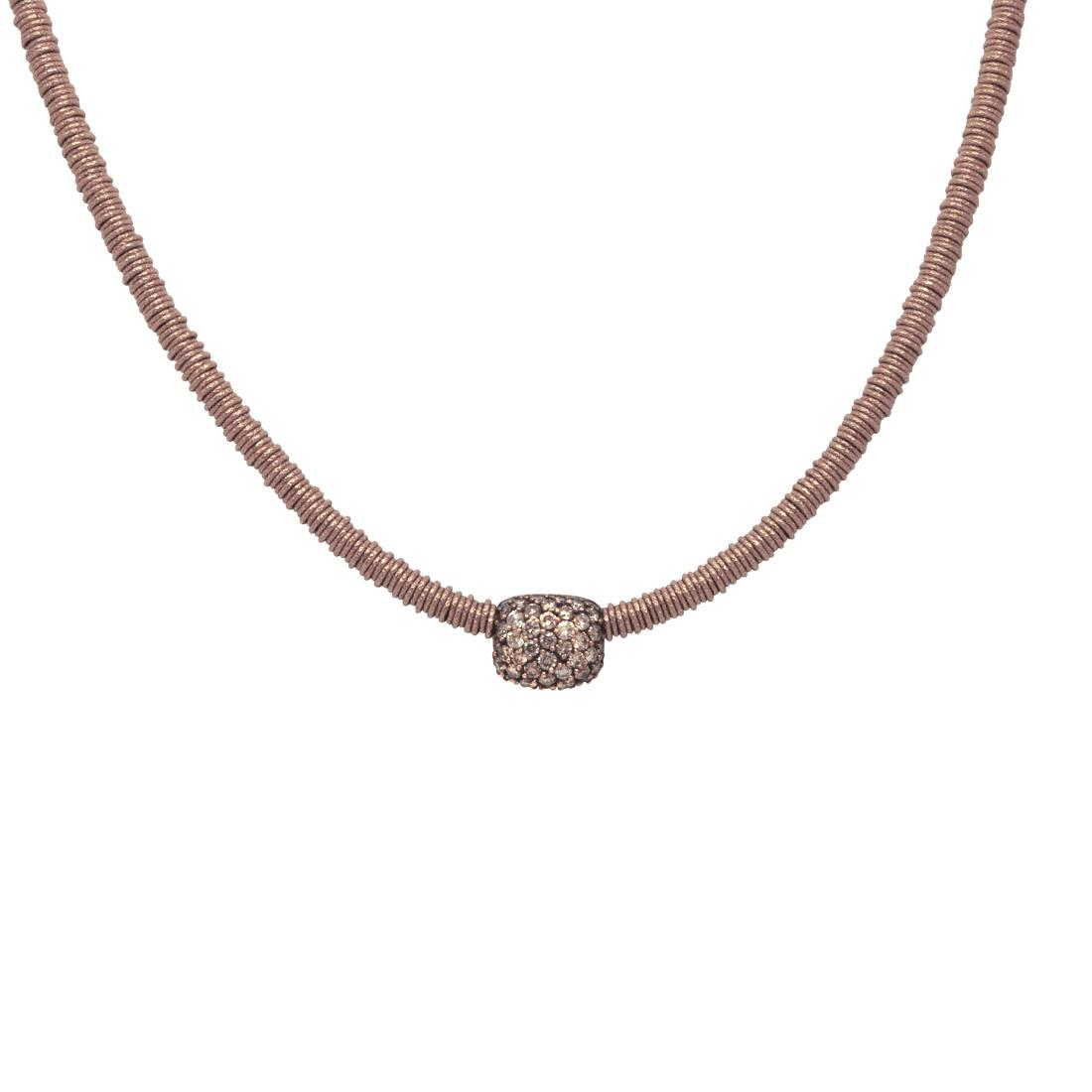 Collana in oro rosa con diamanti brown ct. 0,92 - ROBERTO DEMEGLIO