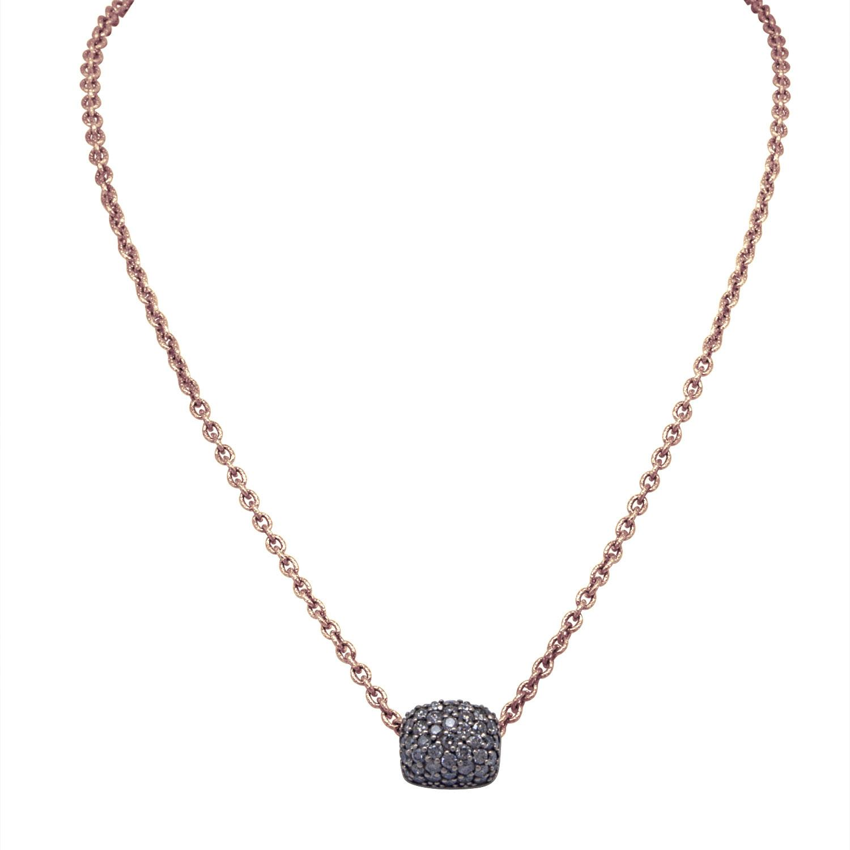 Collana in oro rosa con pendente in diamanti neri - ROBERTO DEMEGLIO